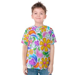 Floral Paisley Background Flower Kids  Cotton Tee