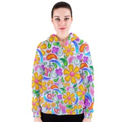 Floral Paisley Background Flower Women s Zipper Hoodie