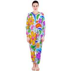 Floral Paisley Background Flower OnePiece Jumpsuit (Ladies)
