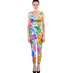 Floral Paisley Background Flower OnePiece Catsuit