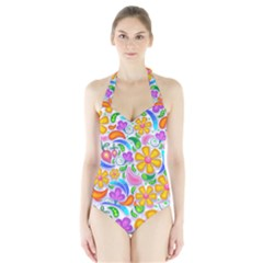 Floral Paisley Background Flower Halter Swimsuit