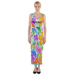 Floral Paisley Background Flower Fitted Maxi Dress