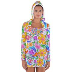Floral Paisley Background Flower Women s Long Sleeve Hooded T-shirt