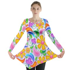 Floral Paisley Background Flower Long Sleeve Tunic