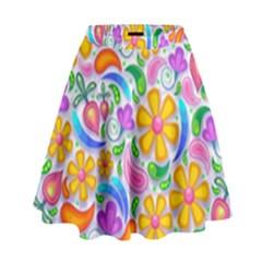 Floral Paisley Background Flower High Waist Skirt