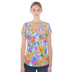 Floral Paisley Background Flower Short Sleeve Front Detail Top