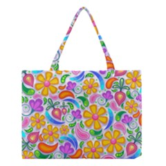 Floral Paisley Background Flower Medium Tote Bag