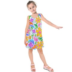 Floral Paisley Background Flower Kids  Sleeveless Dress