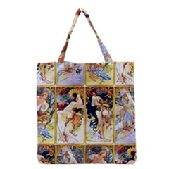 Alfons Mucha 1895 The Four Seasons Grocery Tote Bag