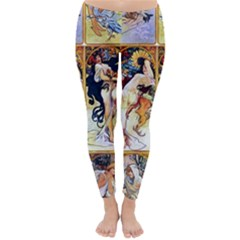 Alfons Mucha 1895 The Four Seasons Classic Winter Leggings
