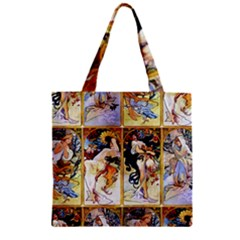 Alfons Mucha 1895 The Four Seasons Zipper Grocery Tote Bag