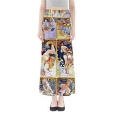 Alfons Mucha 1895 The Four Seasons Maxi Skirts
