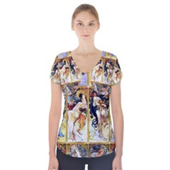 Alfons Mucha 1895 The Four Seasons Short Sleeve Front Detail Top