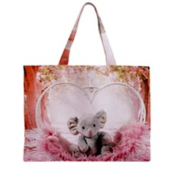 Elephant Heart Plush Vertical Toy Zipper Mini Tote Bag