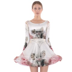 Elephant Heart Plush Vertical Toy Long Sleeve Skater Dress