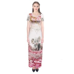 Elephant Heart Plush Vertical Toy Short Sleeve Maxi Dress