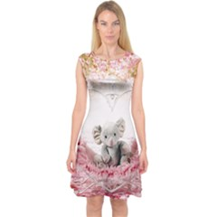 Elephant Heart Plush Vertical Toy Capsleeve Midi Dress