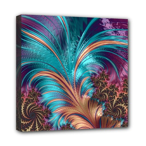 Feather Fractal Artistic Design Mini Canvas 8  x 8