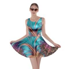 Feather Fractal Artistic Design Skater Dress