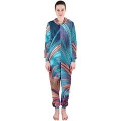 Feather Fractal Artistic Design Hooded Jumpsuit (Ladies)