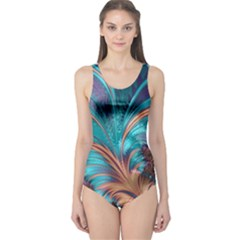Feather Fractal Artistic Design One Piece Swimsuit