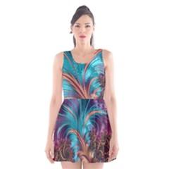 Feather Fractal Artistic Design Scoop Neck Skater Dress