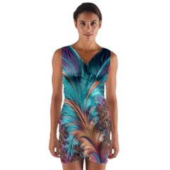Feather Fractal Artistic Design Wrap Front Bodycon Dress