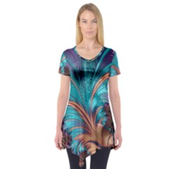 Feather Fractal Artistic Design Short Sleeve Tunic