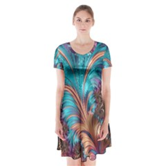 Feather Fractal Artistic Design Short Sleeve V-neck Flare Dress