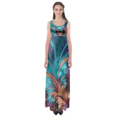 Feather Fractal Artistic Design Empire Waist Maxi Dress
