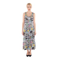 Communication Web Seamless Pattern Sleeveless Maxi Dress