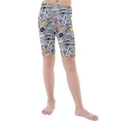 Communication Web Seamless Pattern Kids  Mid Length Swim Shorts