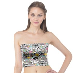Communication Web Seamless Pattern Tube Top