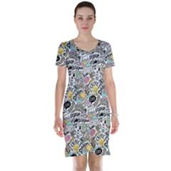Communication Web Seamless Pattern Short Sleeve Nightdress