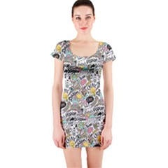 Communication Web Seamless Pattern Short Sleeve Bodycon Dress