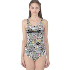 Communication Web Seamless Pattern One Piece Swimsuit