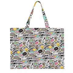 Communication Web Seamless Pattern Zipper Large Tote Bag