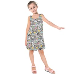 Communication Web Seamless Pattern Kids  Sleeveless Dress