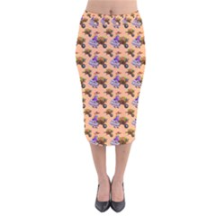 Flowers Girl Barrow Wheel Barrow Velvet Midi Pencil Skirt
