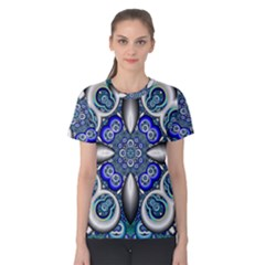 Fractal Cathedral Pattern Mosaic Women s Cotton Tee