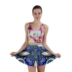Fractal Cathedral Pattern Mosaic Mini Skirt