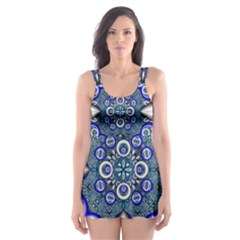 Fractal Cathedral Pattern Mosaic Skater Dress Swimsuit