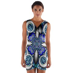Fractal Cathedral Pattern Mosaic Wrap Front Bodycon Dress