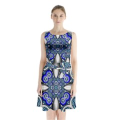 Fractal Cathedral Pattern Mosaic Sleeveless Chiffon Waist Tie Dress