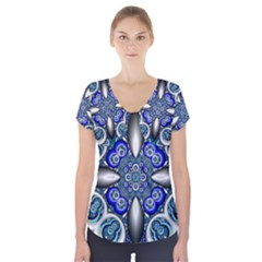 Fractal Cathedral Pattern Mosaic Short Sleeve Front Detail Top