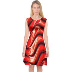 Fractal Mathematics Abstract Capsleeve Midi Dress