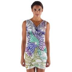 Zentangle Mix 1116a Wrap Front Bodycon Dress