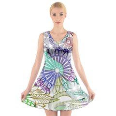 Zentangle Mix 1116a V-Neck Sleeveless Skater Dress