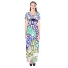 Zentangle Mix 1116a Short Sleeve Maxi Dress