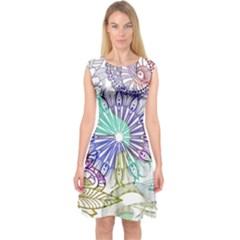 Zentangle Mix 1116a Capsleeve Midi Dress